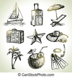 illustrations, dessiné, voyage, set., main