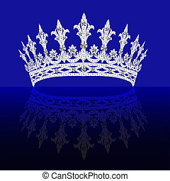 diadem feminine with reflection on turn blue background
