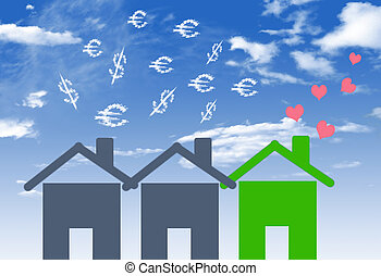 Illustrations economical houses and house with lots of money...