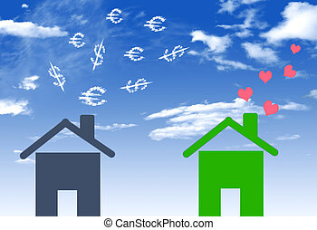 Illustrations economical houses and house with lots of money em