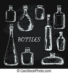 illustrations, ensemble, bouteilles
