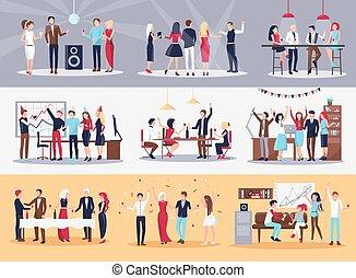 illustrations, ensemble, constitué, faire la fête
