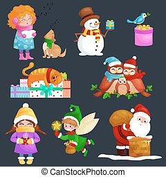 illustrations, ensemble, joyeux noël, bonne année, girl, chanter, vacances, chansons, à, animaux familiers, bonhomme de neige, dons, chat, et, chien, jouir de, présente, hiboux, famille, et, oiseau, elfe, père noël, escalade, cheminée, à, sac
