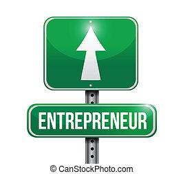 illustrations, entrepreneur, conception, panneaux ...