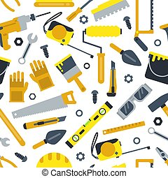 Illustrations for work shop. Different construction tools. Repair set. Vector seamless pattern in flat style