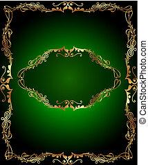 frame green background with vertical gold(en)(en) sample