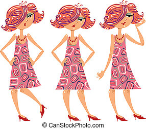 illustrations, girl, dessin animé, set.