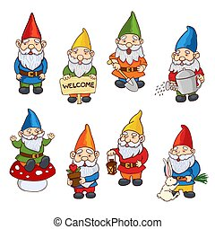 illustrations, gnome, ensemble, jardin