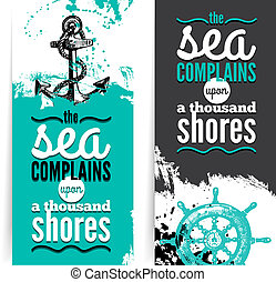 illustrations., graficzny, grunge, podróż, textured, morze, banners., komplet, morski, rys, projektować, ręka, pociągnięty, design.