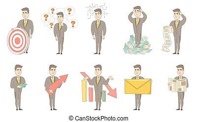 illustrations, homme affaires, set., vecteur, caucasien