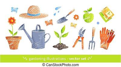 illustrations, jardiner matériel, vecteur