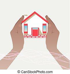 illustrations, maison, deux, hands.