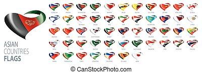 illustrations, national, drapeaux, countries., vecteur, asiatique