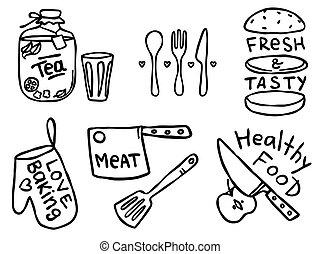 illustrations, nourriture, contour, simple, mignon, ensemble, cuisine, dessiné, sur, expressions, main