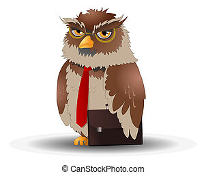 business owl pose on isolated white background -...