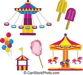 Illustrations of Amusement Park symbols, isolated on white background