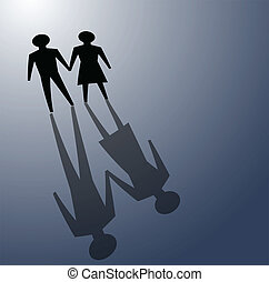 relationship problems - illustrations of couple in darkness,...