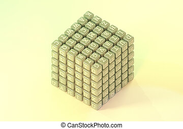 Illustrations of cube or block, ABC sign or symbol for graphic design or wallpapers. 3D render.