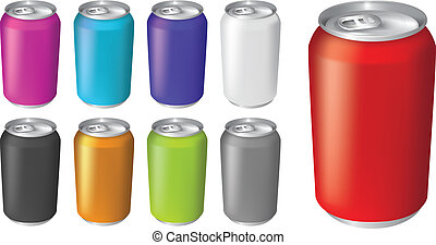 illustrations of fizzy drink soda cans - plain color soda or...