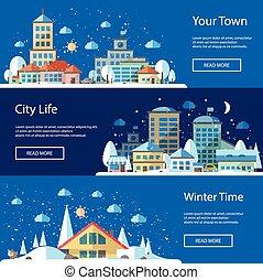 Illustrations of flat urban winter landscape compositions -...