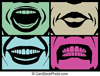 mouth expressions - illustrations of four different human ...