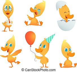 Illustrations of funny duck. Vector cartoon animals in action poses