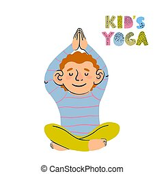 Illustrations of little boy doing yoga