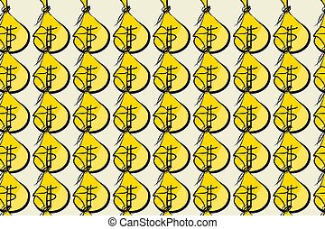Illustrations of money packs or bags.