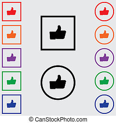 Multiple Coloured Square and Round Icons Isolated on a Grey Background - Like