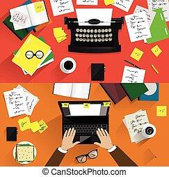 Illustrations of retro typewriters. Concepts of writing, copywriting, screenwriting etc