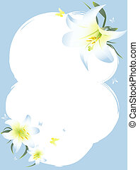 white lily frame with copyspace - Illustrations of white...