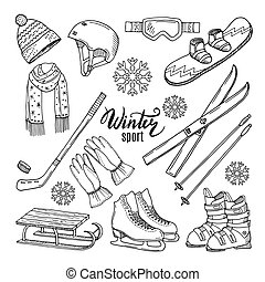 Illustrations of winter sport. Scarf, gloves, ski and...