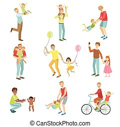 illustrations, pères, gosses, ensemble, jouer