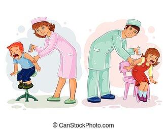 illustrations, peu, ensemble, enfants, vaccinations