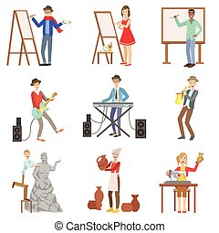 illustrations, professions, ensemble, artistique, gens