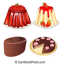 illustrations set dessert jelly with cherry and strawberries cake and cake