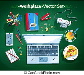 Illustrations set of office workplace - Top view vector...
