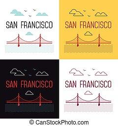 Illustrations set of San Francisco Golden Gate Bridge. San Francisco vector landmark illustration. Line flat style. San Francisco view. T-shirt graphic