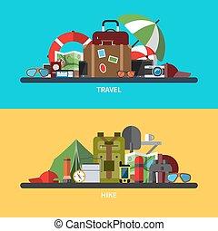 Illustrations set of tourism, traveling, hiking