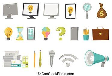 illustrations, set., vecteur, dessin animé