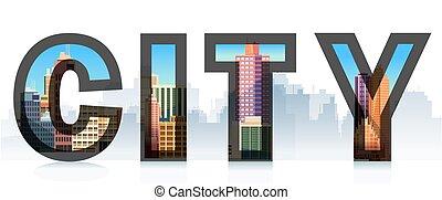 illustrations., typographique, isolé, logo, signe ville, , silhouette., mot, gabarit