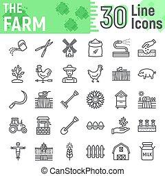 illustrations, vecteur, 10., linéaire, paquet, ensemble, collection, ligne, isolé, eps, symboles, ferme, fond, pictograms, signes, logo, blanc, agriculture, agriculture, croquis, icône
