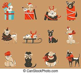 illustrations, vecteur, année, heureux, plat, mignon, boîtes, main, stockage, amusement, retro, seamless, fond, dessin animé, chien, cadeau, résumé, fête, nouveau, noël, temps, modèle, noël, couleur, joyeux, dessiné, isolé
