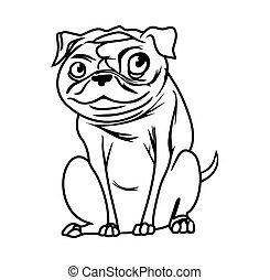 illustrations, vecteur, chien