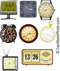 illustrations, vecteur, collection, horloge