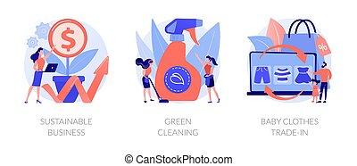 illustrations., vecteur, résumé, amical, business, écologiquement, concept