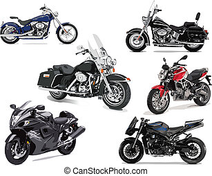 illustrations, vecteur, six, motocyclette
