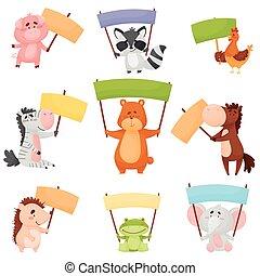 illustrations, vide, ensemble, animaux, dessin animé, tenue, bannières, vecteur, mignon, coloré