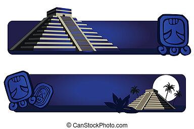Mayan Pyramid - Illustrations with Mayan Pyramid and ancient...