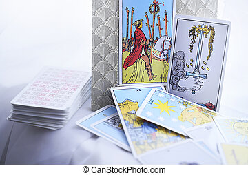 Illustrative Editorial. Tarot cards and esoteric concept. . High quality photo